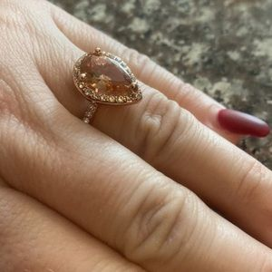 Rose Gold Pink Peach Morganite Tear Drop Ring 6